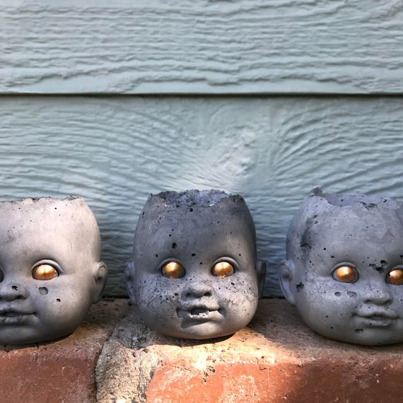 Mini -PeaboZombie Baby Doll Head Planter - Hypertufa