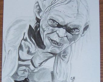 Gollum 6x9 ink drawing Lord of the Rings
