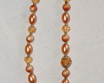 Vintage Hong Kong Orange Tangerine Pearl Yellow Single Strand Plastic Bead Necklace