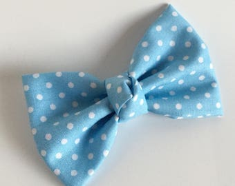 Fabric Bow - Light Blue with White Dots - Polka Dots