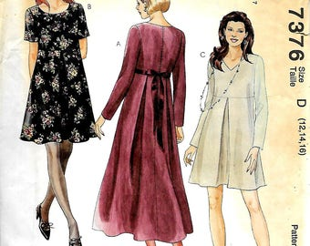 McCall's 7376      Misses Dress in Two Lengths       Size 12,14,16         Uncut