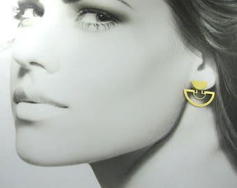 Unique Gold Earrings, Gold Ear Jackets, Elegant Earrings, 14K Gold Earrings, Woman's Gold Earrings, Yellow Gold Earrings, Geometric Earrings