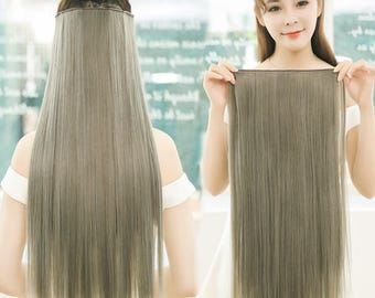 """Remhumhair: 14""""/16""""/18""""/20"""",Clip-on/Flip-in/Wire/Halo Hair Extensions,#001 Silver Grey,100% Human Hair,Remy Hair,Straight Hair"""