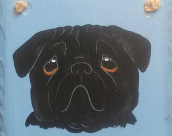 BLACK PUG SLATE, Individually hand painted, can be personalized free of charge