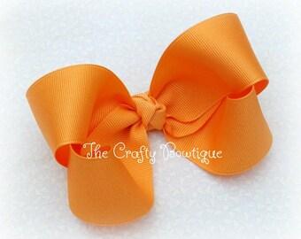 Creamsicle Orange Bow ~ Orange Boutique Bow ~ Light Orange Bow ~ 4 inch Boutique Bow ~ Large Orange Bow ~ Orange Headband Bow ~ Light Orange