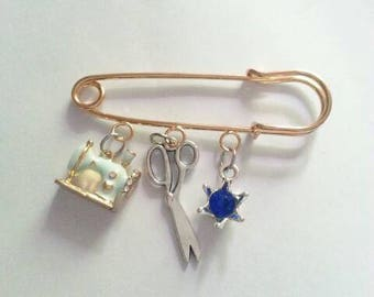Seamstress Goldtone Safety Pin. Sewing Machine, Scissors and Birthstone Safety Fashion Pin Brooch.
