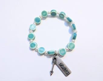 Teal Glass Beaded Stretch Bracelet with Faith and Arrow Charm