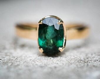 Green Tourmaline 14k Gold Ring 7.5 - Green Tourmaline Ring 14K Yellow Gold Green Tourmaline Ring Green Tourmaline Ring size 7.5 - Tourmaline