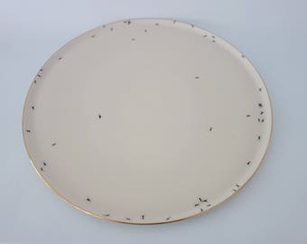 Chitins Gloss - plate - vintage porcelain handpainted with ants