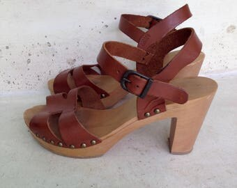 Sandals clogs size 37 fits 5 US, wood and leather heels