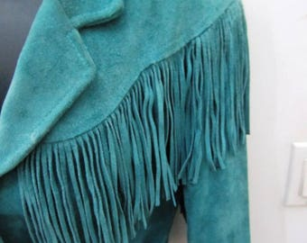 Pioneer Wear Made In Albuquerque USA, Teal Turquoise Blue Suede Long Fringed  Jacket Coat