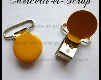 SET of 5 round yellow ties strap 25mm metal 03 pacifier blanket clips