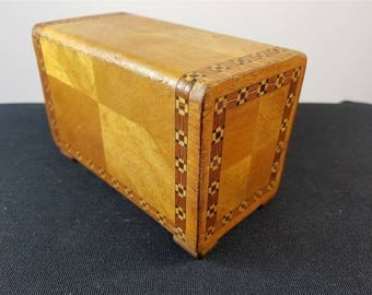 Vintage Japanese Wooden Puzzle Trick Box Jewelry or Trinket  with Inlaid Marquetry Wood 1930's Original