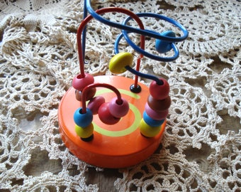 Vintage Wooden Mini Beads Coaster/Wooden Bead Roller Coaster /Kids Toy/1990s