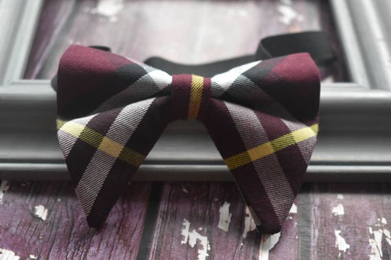 Festive wine red tartan / plaid floppy / butterfly bow tie  for Baby, Toddlers and Boys (Kids Bow Ties) with Braces/ Suspender