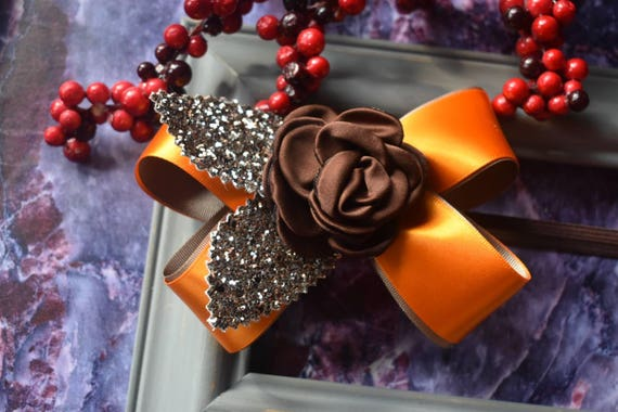 Festive orange and brown flower  glitter bow - Baby / Toddler / Girls / Kids Headband / Hairband  / Barrette / Hairclip /Christmas