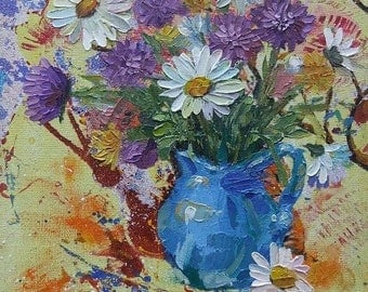 Picture Floral Fine Art Original Oil Painting  Flowers  Home Decor Still Life
