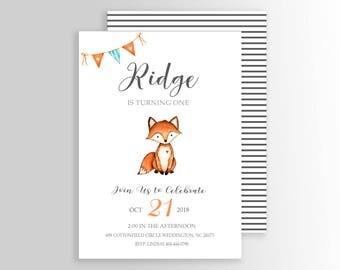 Modern Fox birthday invitation - Woodland fox invitation - Fall birthday invitation - Boy birthday - Modern Fox birthday - Animals - Digital