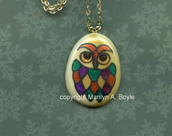 OWL HAND PAINTED Pendant; on fused glass, stain glass look, metallic paints, original, one of a kind, wearable art, jewelry, 22 inch chain
