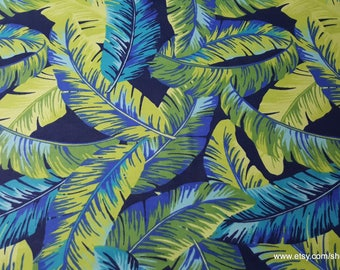 Flannel Fabric - Tropical Leaves - By the yard - 100% Cotton Flannel