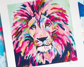 """You're Lion! 12x12"""" Fine Art Lion Print, multicolored"""