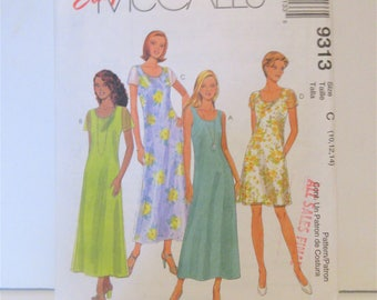 Vintage McCall's Dress Pattern #9313 Misses Size C  (10,12, 14)