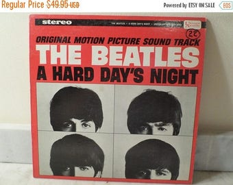 Save 30% Today Vintage 1964 LP Record The Beatles A Hard Days Night United Artists Mono Version Very Good Condition 14331