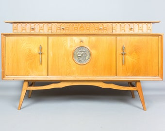 Retro Solid Elm Sideboard by Beautility Cocktail Cabinet Chest of Drawers Vintage 1960'S