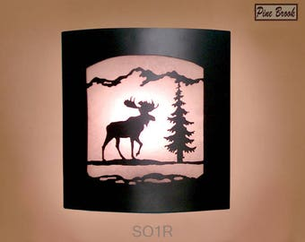 Wall Sconce Rustic Moose Light, Cabin Decor Lamp, Pine Tree, Right Facing
