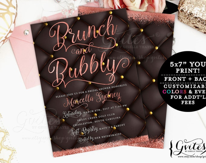 Rose Gold Bridal Shower Invitation, Brunch and Bubbly, Printable Invites Bridal Shower Party, Digital file, 5x7 Double Sided, Gvites