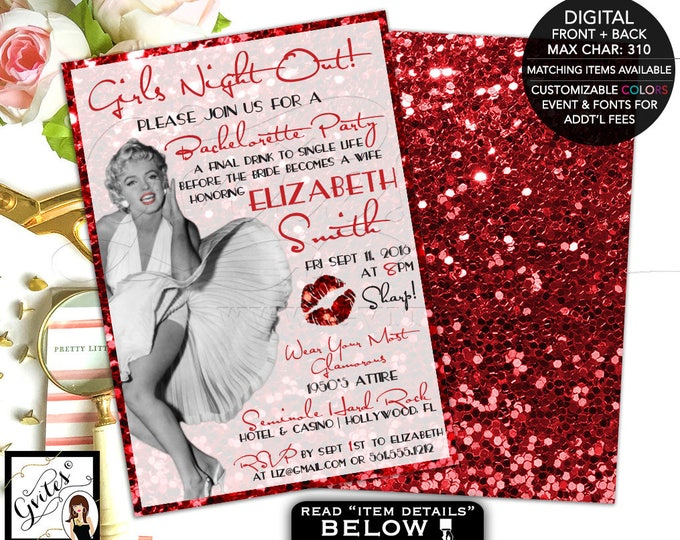 Girls night out invitations, bachelorette party, old hollywood style, red glitter glitz and glamour, Marilyn Monroe theme 5x7 double sided.