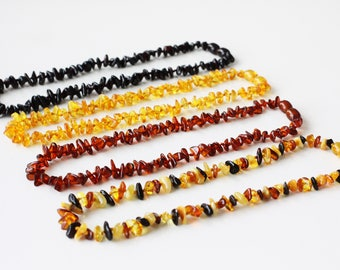 Baltic Amber Baby Teething Necklace - Gift for New Baby or Baby Shower Gift. Choose Color from 4 variations!