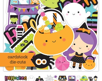 Doodlebug Collection Booville Odds & End 75 Adorable diecuts paper pieces Halloween/ Scrapbook/ Planners/ Card making/