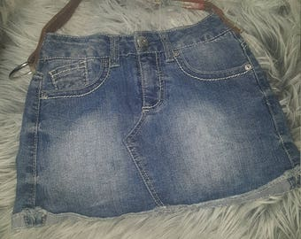 AWESOME Re-purposed REVERSIBLE  Handmade One of a Kind ReSkirt Bag!