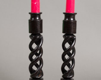 Ebony Candlestick Holders - Vintage Dark Solid Wood Mahogany Barley Twist African Candlestick Holders