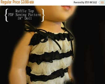 """75% OFF SALE PDF Sewing Pattern fits 18"""" American Girl Doll Clothes - Summer Style Ruffle Top"""