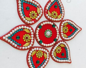US Seller - Acrylic Rangoli,Floor Art,Diwali, Festive Rangoli,Pongal,Onam, Wall Art,Rhinestone, Bead,Stones,festival,rakhi,indian,stencil