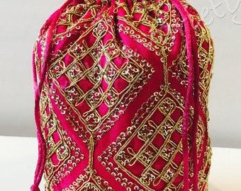 Bag,potli bag,shoulder bag,clutch,purse,wallet,diwali,zari,sequence work ,Navratri