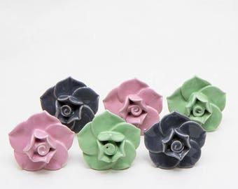Set of 6 Big flower Ceramic Knobs
