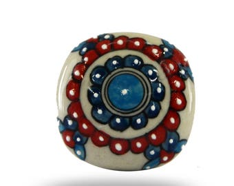 Painted Lanquin Flower Ceramic Furniture Knob, Decorative Cabinet Hardware for any Décor, Unique Cupboard Handle or Draw Pull
