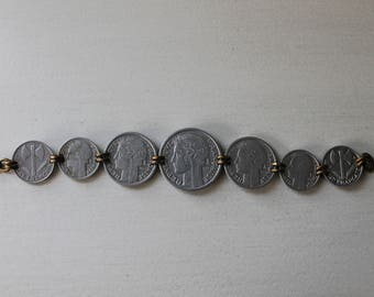 Vintage 1940s French Coin Bracelet, Silver Tone Metal, Jewelry