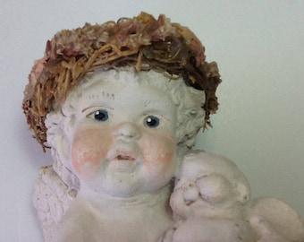 vintage collectible | 90s vintage figurine | cherub angel figure | mother child figure | plaster art figurine | signed Kristin angel