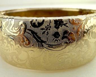 vintage jewelry, 50s vintage bracelet, hinged dome bangle, French floral bangle, Hollywood regency, wide chunky bangle, statement bracelet