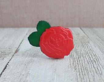 Red Rose - Flower - Love - Marriage - Anniversary - Florist - Lapel Pin