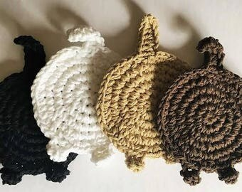 What, What?   Crocheted Cat Butt Coasters