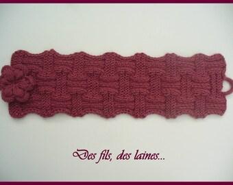 Col chauffant, chauffe cou tricot, snood tricoté en laine fine avec fleur au tricot, accessoire tricot, cache cou, tour de cou, écharpe