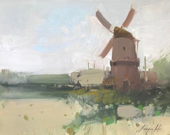 Old Mill, Landscape Original oil Painting on Canvas Handmade painting, One of a kind