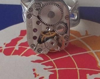 Unisex vintage watch movement ring