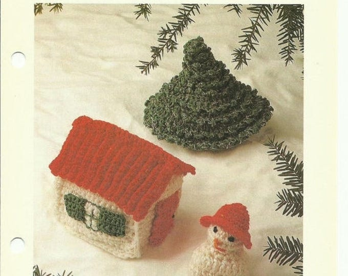 Retrocon Sale - Christmas Ornaments crochet pattern download - snowman, house, and tree!