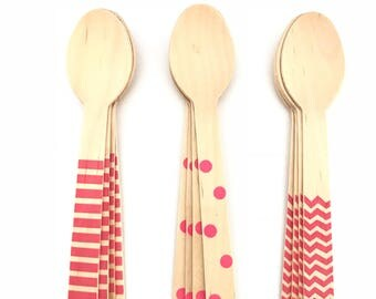 Set of 12, wooden Party spoons, polka dot, chevron, Stripes, hot pink, birthday decoration, party decorations, baby shower, party supply